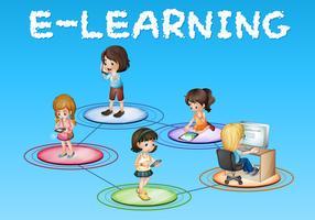 Mädchen und E-Learning-Symbol vektor