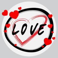 Wortentwurf für Liebe mit roten Herzen vektor