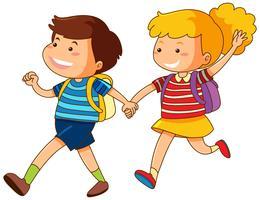 Pojke och flicka håller händer vektor
