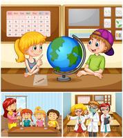 Barn lär sig i klassrummet med lärare vektor