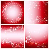 Fyra röda bakgrund med musikanteckningar