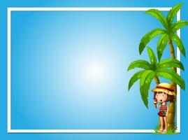 Ett tropiskt sommar med tjejblå mall vektor