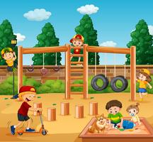 Kinder spielen am Spielplatz vektor