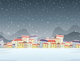 Vinterby natt bakgrund vektor