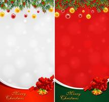 Två julkort med bollar och klockor