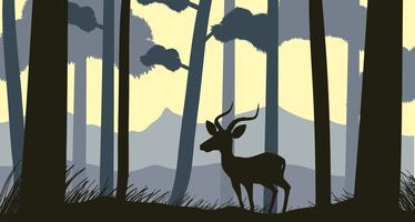 Bakgrundsscen med silhuettgazelle i skogen