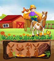 Kaninchen, das in der Untertagefarm lebt vektor