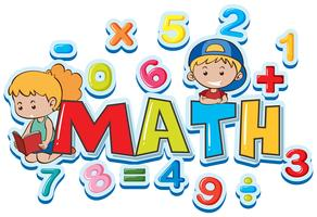 Schriftart für Wortmathe mit vielen Zahlen und Kindern vektor