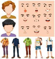Set av ung man med olika ansiktsuttryck