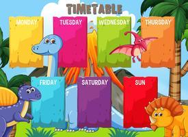 Stundenplan mit bunter Dinosaurierschablone vektor
