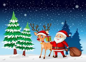 Ein Weihnachtsmann im Winterschnee