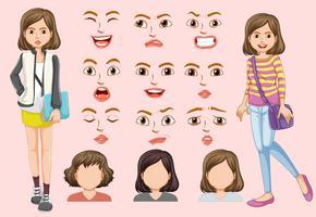 Set av söt tjej med olika ansiktsuttryck