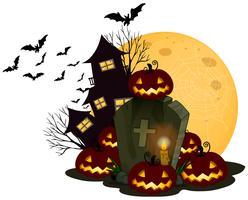 Ein gespenstisches Halloween-Thema auf weißem Hintergrund