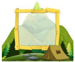 En ram av berg camping