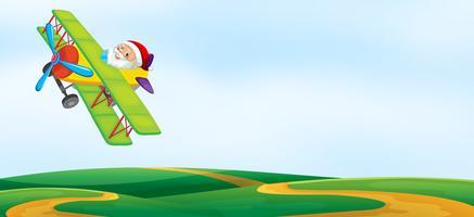 Eine santa reiten flugzeug vorlage vektor