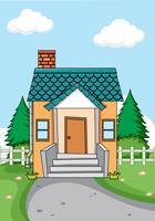 Ein einfaches Haus im Naturhintergrund vektor