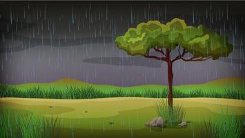 Bakgrundsscen med regn i parken vektor