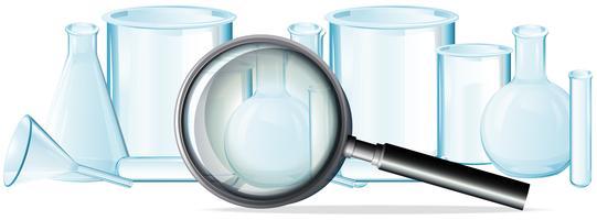 Laborausrüstungen auf weißem Hintergrund vektor