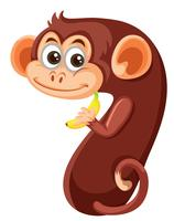 Netter Affe Nummer sieben Zeichen vektor