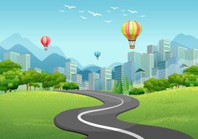 Leere Straße in die Stadt vektor