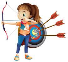 Ein Archer Girl mit weißem Hintergrund vektor