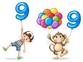 Pojke och apa med ballonger för nio