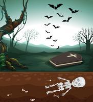 Ein gruseliger Friedhof und ein Skelett vektor