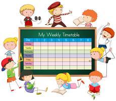 Wochenplan mit Jungen und Mädchen vektor