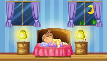 Liten tjej sover på rosa säng