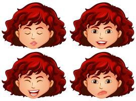 Mädchen mit vier verschiedenen Gefühlen vektor