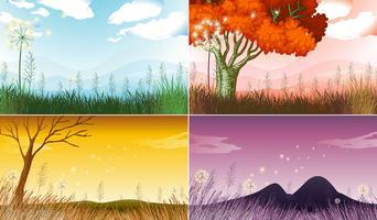 Vier Hintergrundszenen mit verschiedenen Jahreszeiten vektor