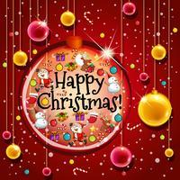 Glückliche Weihnachtskartenschablone mit Bällen auf rotem Hintergrund