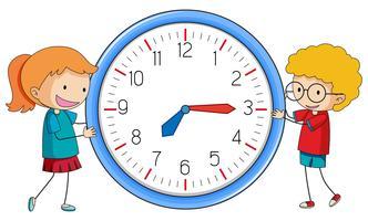 Gekritzeljunge und -mädchen mit Uhr vektor