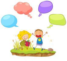 Gekritzelkinder mit Sprechblase vektor