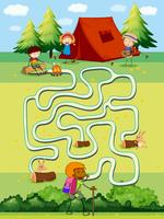 Spielschablone mit den Kindern, die auf dem Gebiet kampieren vektor