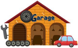Ett garage på vit bakgrund