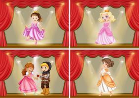 Prinsessan och riddare på scenspelet vektor
