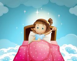 Mädchen, das im Bett mit Himmelhintergrund schläft
