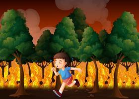Junge läuft weg vom Feuer vektor