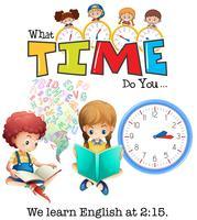 Schüler lernen Englisch um 2:15 Uhr vektor