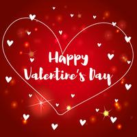 Velentine Kartenschablone mit Herzen auf rotem Hintergrund