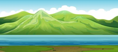Ett berg naturlandskap vektor