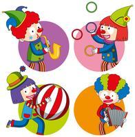 Aufkleberdesign mit glücklichen Clowns vektor