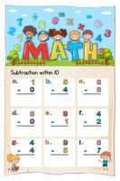 Math kalkylblad för subtraktion inom tio