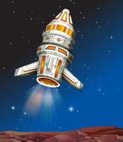Raumschiff fliegt in den dunklen Raum vektor