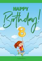 Grattis på födelsedagskortet för åtta år gammal vektor