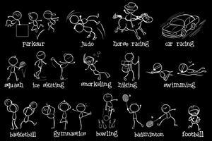 Doodle-Design der verschiedenen Sportarten vektor