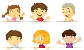 Pojkar och tjejer med glada ansikten