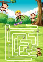 Brettspieldesign mit Affen im Hintergrund vektor