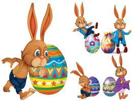 Braune Kaninchen und Ostereier vektor
